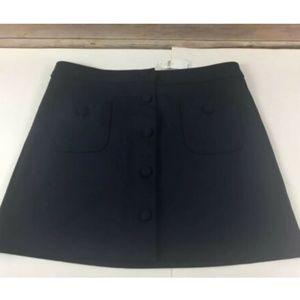 Gap Mini Skirt M Medium Navy Blue Buttons Spandex